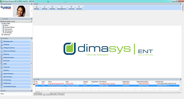 Screenshot DIMASYS|ERP Desktop